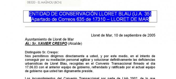Carta a l'alcalde de Lloret