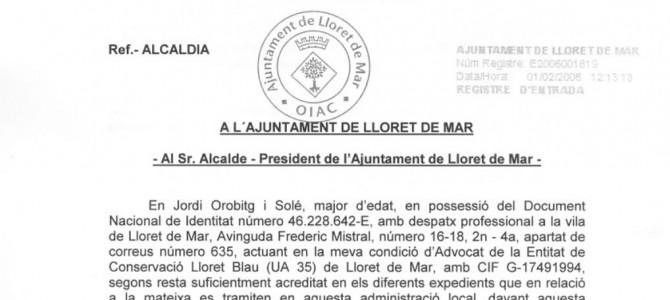 Carta a l'alcalde de Lloret de Mar