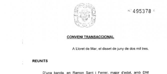 Signatura del Conveni Transaccional