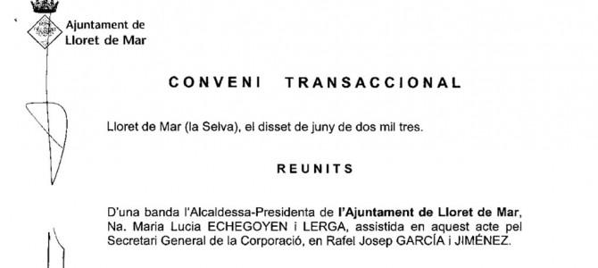 El Conveni Transaccional a l'Ajuntament