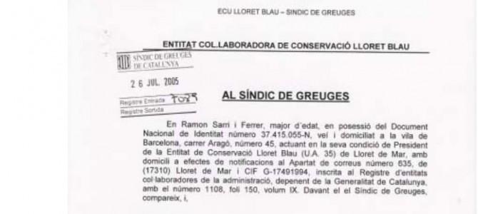 Prec lliurat al Síndic de Greuges contra l'Ajuntament de Lloret de Mar