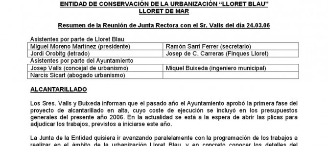 Resum de la Reunió de la Junta Rectora amb el Sr. Valls