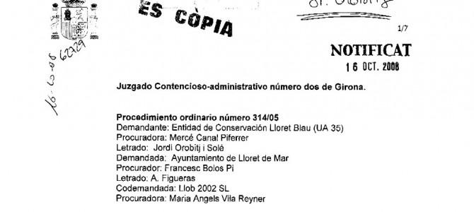 Sentencia judicial a favor de la Entitat de Lloret Blau