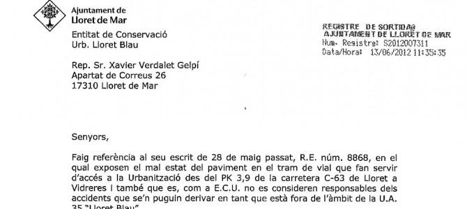 Respuesta del Ayuntamiento a nuestro escrito reclamando por el mal estado de los accesos