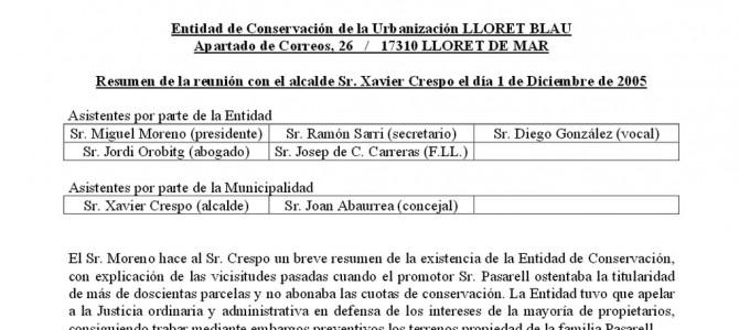 Resum de la reunió amb l'Alcalde de Lloret de Mar