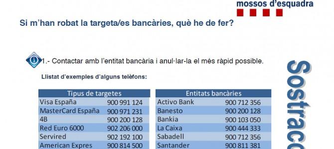 Guía de actuación en caso de sustracción de tarjetas bancarias