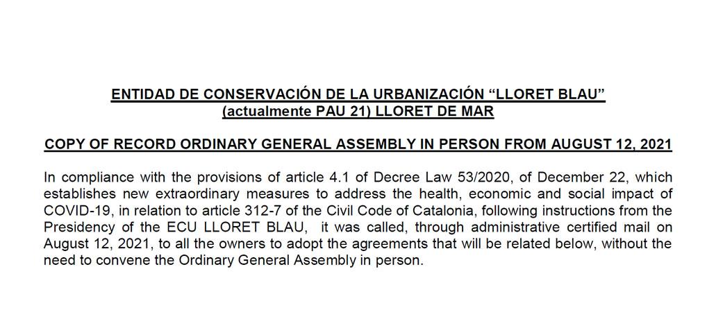 Acta de la Asamblea General por acuerdos 2021 en inglés